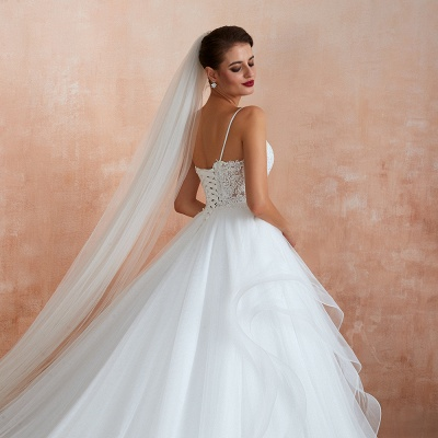 Chic Spaghetti Straps Lace Wedding Dress with See Through Bodice_9