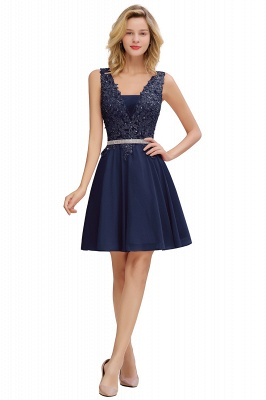Lovely Sleeveless Short Prom Dress   Mini Homecoming Dress With Appliques_3