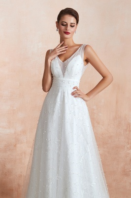 Fantastic V-Neck Sleeveless White Appliques Wedding Dress With Pearls_7