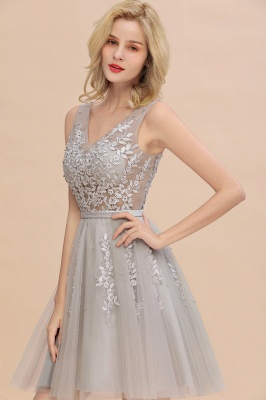 Elegant V-Neck Sleeveless Short Prom Dress | Mini Homecoming Dress With Lace Appliques_13