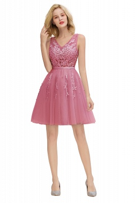Elegant V-Neck Sleeveless Short Prom Dress | Mini Homecoming Dress With Lace Appliques_26