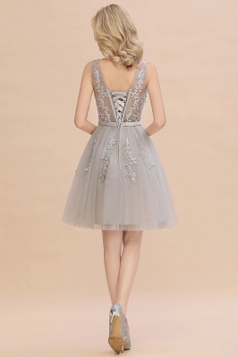 Elegant V-Neck Sleeveless Short Prom Dress | Mini Homecoming Dress With Lace Appliques_15