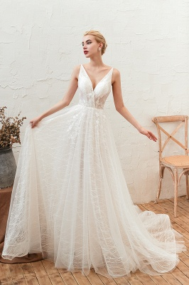 Affordable Tulle V-Neck Long Wedding Dress with Appliques_1
