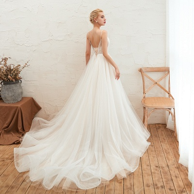 Chic Spaghetti Straps V-Neck Ivory Tulle Wedding Dress with Appliques_6