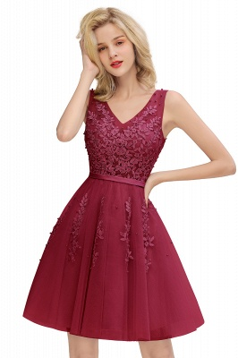 Elegant V-Neck Sleeveless Short Prom Dress | Mini Homecoming Dress With Lace Appliques_3