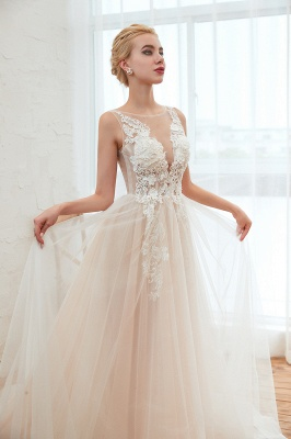 Unique Tulle V-Neck Ivory Affordable Wedding Dress with Appliques_11