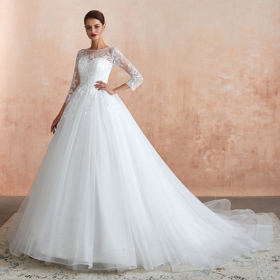 Affordable Lace Jewel White Tulle Wedding Dress with 3/4 Sleeves_4