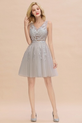 Elegant V-Neck Sleeveless Short Prom Dress | Mini Homecoming Dress With Lace Appliques_23
