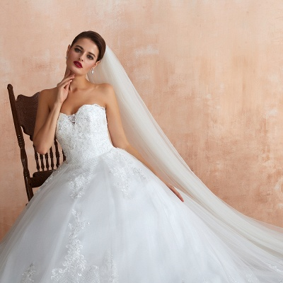 Stylish Strapless White Lace Affordable Wedding Dress with Low Back_10