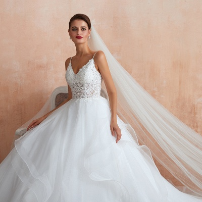 Chic Spaghetti Straps Lace Wedding Dress with See Through Bodice_10