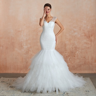 Sparkly Mermaid Sweetheart White Tulle Wedding Dress with Sequins_4