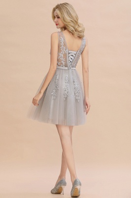 Elegant V-Neck Sleeveless Short Prom Dress | Mini Homecoming Dress With Lace Appliques_22