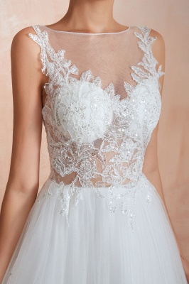 Exquisite Sequins White Tulle Affordable Wedding Dress with Appliques_11