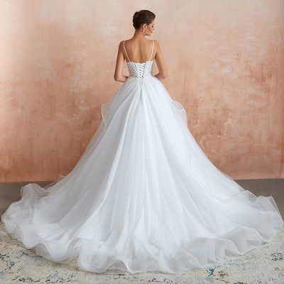 Chic Spaghetti Straps Lace Wedding Dress with See Through Bodice_7