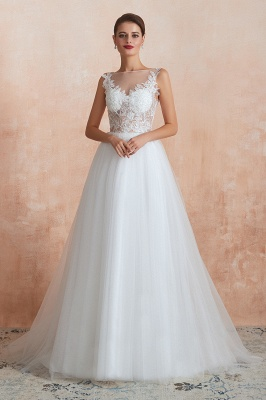 Exquisite Sequins White Tulle Affordable Wedding Dress with Appliques_5