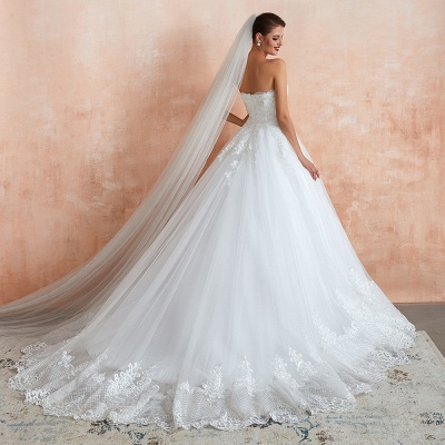 Stylish Strapless White Lace Affordable Wedding Dress with Low Back_7