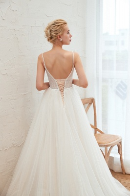 Chic Spaghetti Straps V-Neck Ivory Tulle Wedding Dress with Appliques_11
