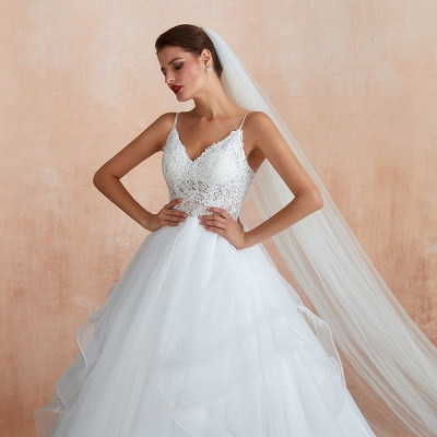 Chic Spaghetti Straps Lace Wedding Dress with See Through Bodice_11