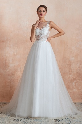 Exquisite Sequins White Tulle Affordable Wedding Dress with Appliques_7