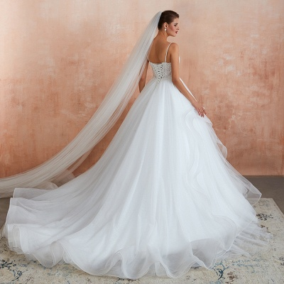 Chic Spaghetti Straps Lace Wedding Dress with See Through Bodice_8