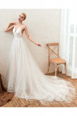 Affordable Tulle V-Neck Long Wedding Dress with Appliques_7