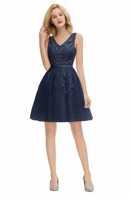Elegant V-Neck Sleeveless Short Prom Dress | Mini Homecoming Dress With Lace Appliques_25