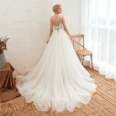 Chic Spaghetti Straps V-Neck Ivory Tulle Wedding Dress with Appliques_4
