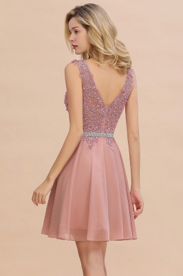 Lovely Sleeveless Short Prom Dress   Mini Homecoming Dress With Appliques_16