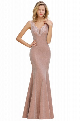 Dusty Pink Shinning Long Prom Dress Mermaid With Appliques_12