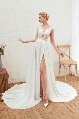 Sexy Jewel Appliques Long Ivory Affordable Wedding Dress with Front Slit_6