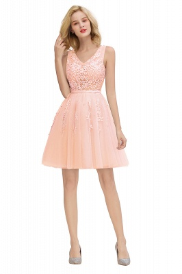 Elegant V-Neck Sleeveless Short Prom Dress | Mini Homecoming Dress With Lace Appliques_28