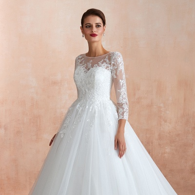 Affordable Lace Jewel White Tulle Wedding Dress with 3/4 Sleeves_7