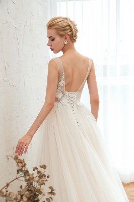Affordable Tulle V-Neck Ruffle Long Wedding Dress with Appliques_9