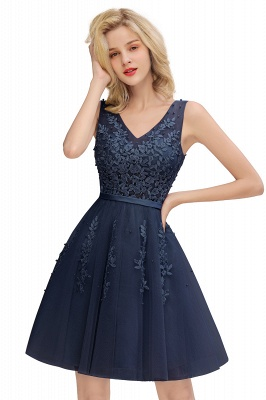 Elegant V-Neck Sleeveless Short Prom Dress | Mini Homecoming Dress With Lace Appliques_4