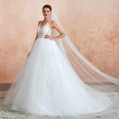 Exquisite Lace Halter Ball Gown White Wedding Dress with Open Back_6