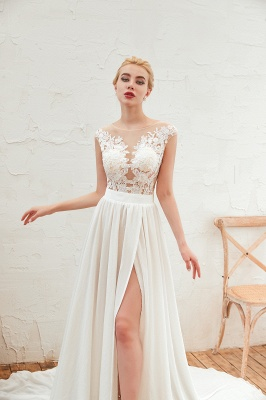 Sexy Jewel Appliques Long Ivory Affordable Wedding Dress with Front Slit_9