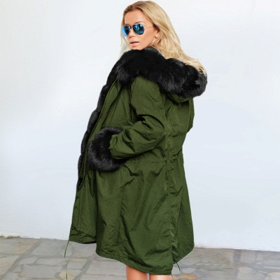 Classic Army Green Faux Fur-trimmed Long Coat Winter Jacket_11