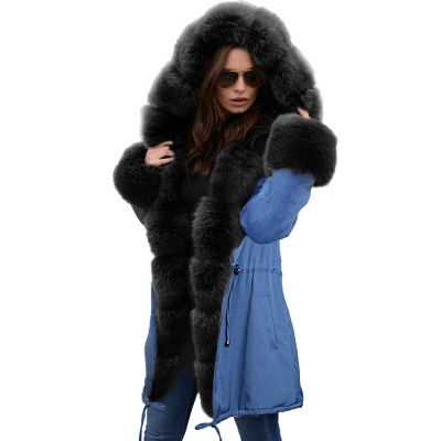 Women's Solid Color Hooded Long Faux Fur Coat Winter Jacket_26