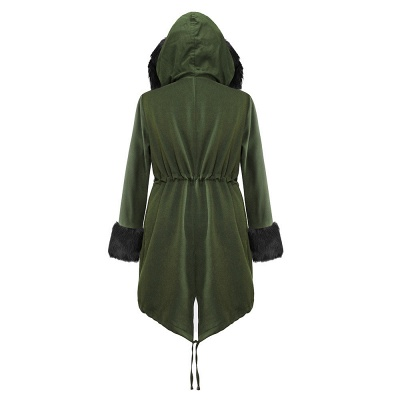 Classic Army Green Faux Fur-trimmed Long Coat Winter Jacket_18