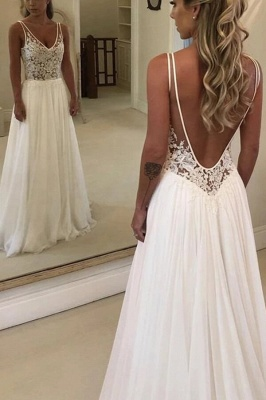 V-Neck Sleeveless Beach Wedding Dress Lace Long Bridal Gowns On Sale BC0875_2