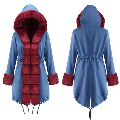 Women's Solid Color Hooded Long Faux Fur Coat Winter Jacket_20
