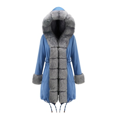 Women's Solid Color Hooded Long Faux Fur Coat Winter Jacket_38