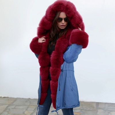 Women's Solid Color Hooded Long Faux Fur Coat Winter Jacket_6