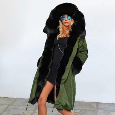 Classic Army Green Faux Fur-trimmed Long Coat Winter Jacket_2