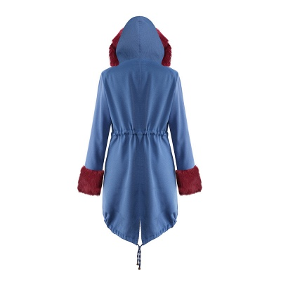 Women's Solid Color Hooded Long Faux Fur Coat Winter Jacket_34
