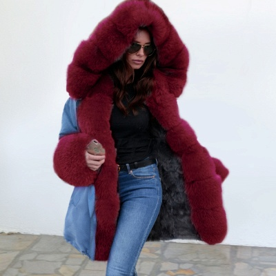 Women's Solid Color Hooded Long Faux Fur Coat Winter Jacket_4
