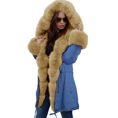 Women's Solid Color Hooded Long Faux Fur Coat Winter Jacket_48