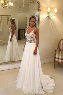 V-Neck Sleeveless Beach Wedding Dress Lace Long Bridal Gowns On Sale BC0875_1