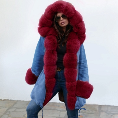 Women's Solid Color Hooded Long Faux Fur Coat Winter Jacket_1