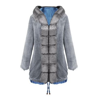 Women's Solid Color Hooded Long Faux Fur Coat Winter Jacket_29